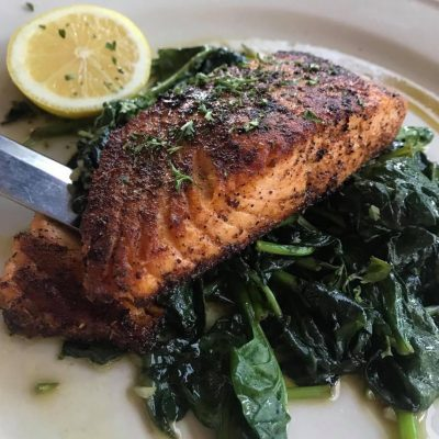 *Blackened Salmon over Sautéed Spinach