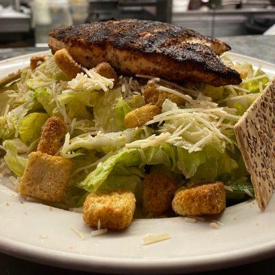 Classic Caesar Salad with Salmon
