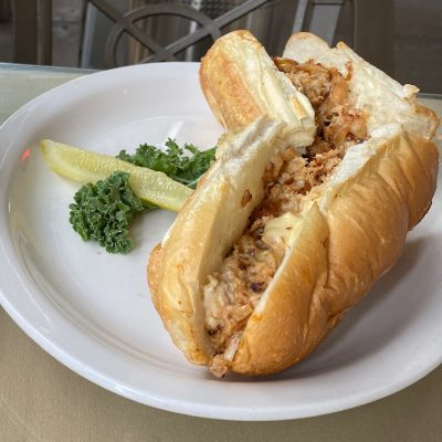 Chicken Cheese Steak Sub with Onions